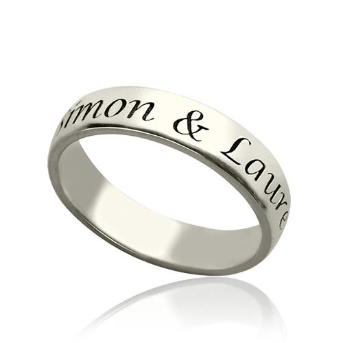 engraved sterling silver name ring for promise