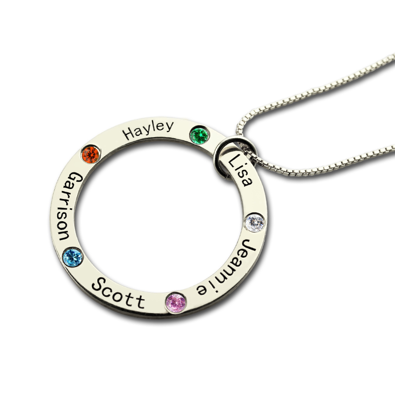 Mothers Day Jewelry Mothers Family Circle Name Necklace