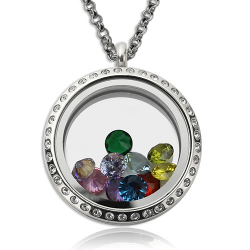 Birthstone Heart Floating Locket Necklace