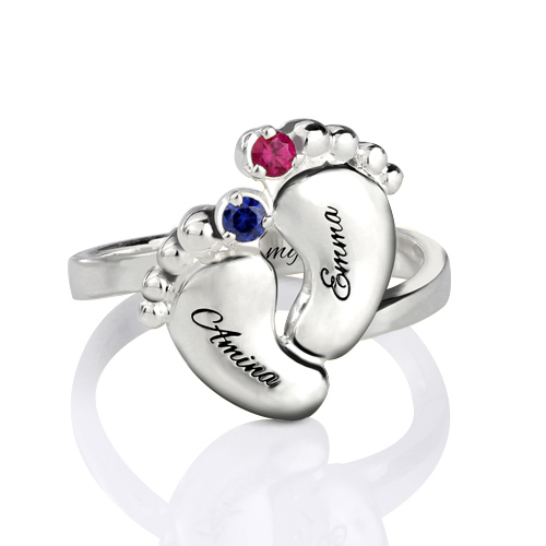 Personalized Jewelry Custom Ring New Mom Gift Footprint Ring