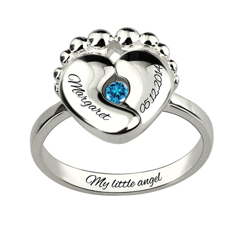Engraved Baby Feet Birthstone Ring Memorial Gift For Mother