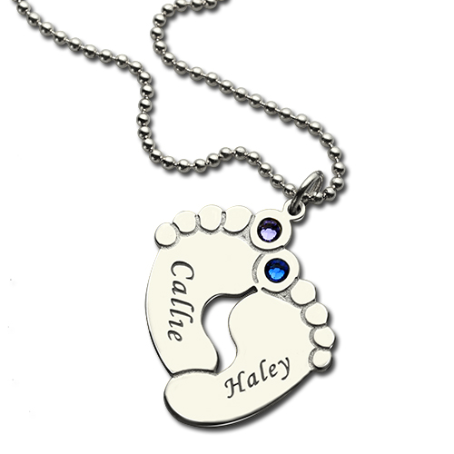 personalized baby name necklace with birthstone silver
