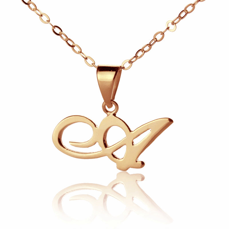 Permalink to M Initial Necklace Rose Gold