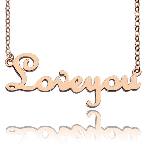 Personalized Rose Gold Plated Cursive Name Necklace