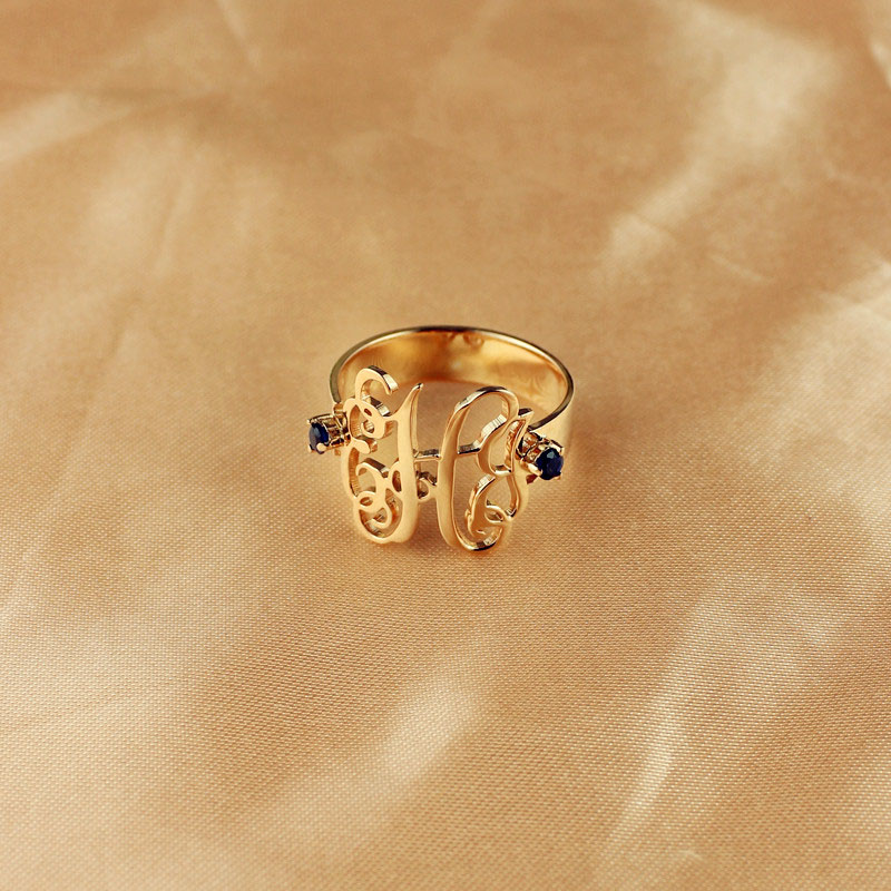 womens monogram rings with birthstone rose gold